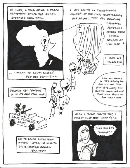 Full page black and white hand-drawn comic, introduction to Uganda and South Sudan