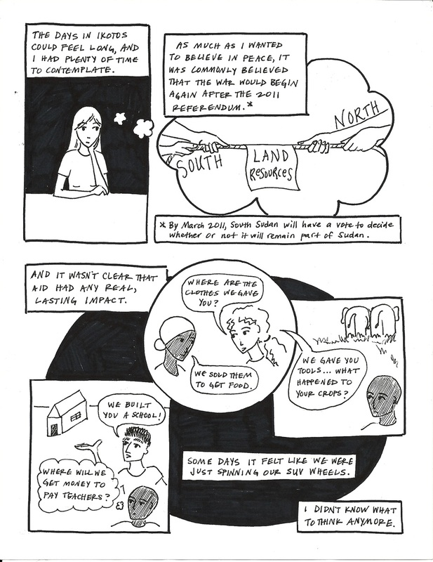 Full-page black and white comic, the quandaries of aid work in South Sudan